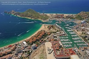 Aerial view of Medano Beach, Marina, Ocean, Cabo San Lucas, September 2012